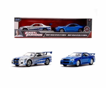Jada 253204004 - Fast & Furious Twin Pack Nissan Skyline 1:32